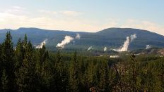 Yellowstone - On the Way to Mammoth Hot Springs - Distant Geyser Basins